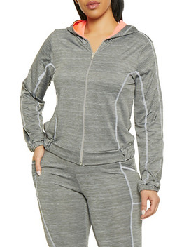 Plus Size Contrast Stitch Hooded Activewear Top by Rainbow