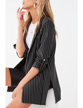 Pinstriped Open Front Blazer by Forever 21