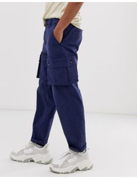 Asos Design Relaxed Cargo Trousers In Washed Blue by Asos Design