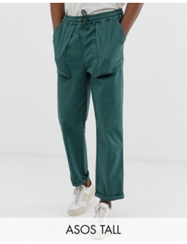 Asos Design Tall Relaxed Trousers In Deep Green With Pocket Detail by Asos Design