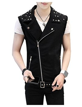 Life He Men's Sleeveless Lapel Punk Zipper Denim Jean Vests Jacket With Rivets by Life He