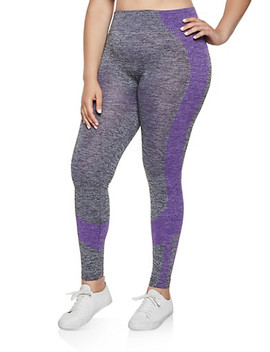 Plus Size Multi Stripe Detail Active Leggings by Rainbow