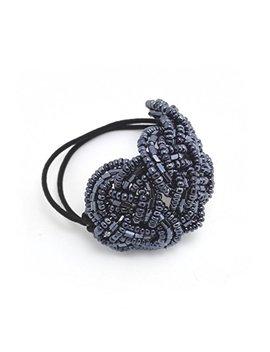 Meilliwish Crystal Beads Ponytail Holder Hair Tie (Dark Blue) (B10) by Meilliwish