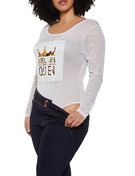 Plus Size Melanin Queen 3 D Patch Mesh Bodysuit by Rainbow