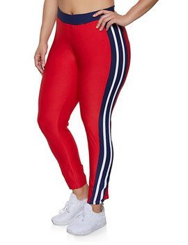 Plus Size Color Block Active Pants | 1951038341742 by Rainbow