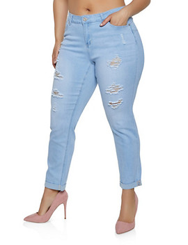 Plus Size Wax Distressed Fixed Cuff Jeans by Rainbow