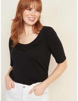 Shirred Elbow Sleeve Jersey Top For Women by Old Navy