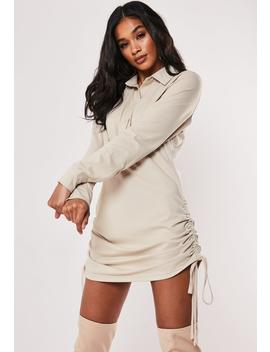 Stone Ruched Side Jersey Shirt Dress by Missguided