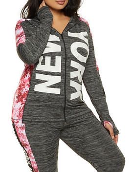 Plus Size New York Tie Dye Trim Hooded Top by Rainbow