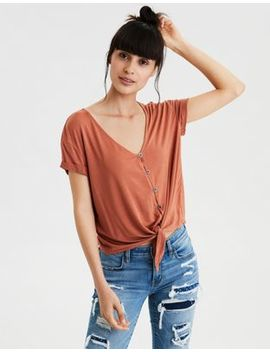 Ae Soft &Amp; Sexy Button Front T Shirt by American Eagle Outfitters