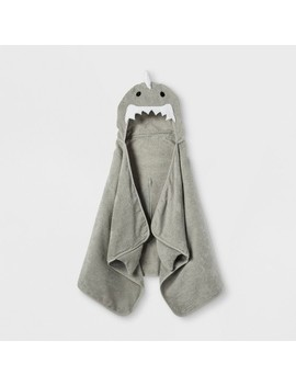 Shark Hooded Bath Towel Gray Marble   Pillowfort by Pillowfort