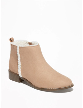Faux Suede Sherpa Lined Boots For Girls by Old Navy