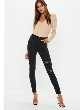 Tall Black Sinner High Waisted Authentic Ripped Skinny Jeans by Missguided