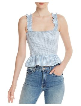 Smocked Gingham Cropped Top   100 Percents Exclusive by Aqua