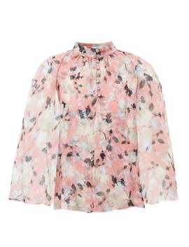 Carvella Cape Sleeve Floral Print Silk Blouse by Erdem
