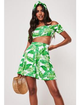 Green Palm Print Bardot Crop Top Skater Skirt Co Ord Set by Missguided