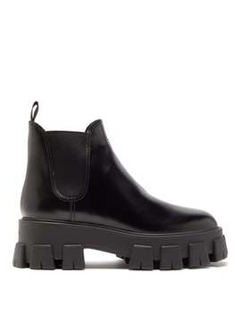 Exaggerated Tread Sole Leather Ankle Boots by Prada