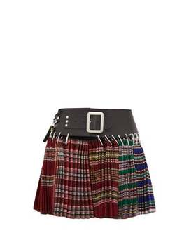 Pleated Wool Jacquard Mini Skirt by Chopova Lowena