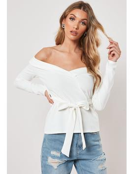 White Off Shoulder Crepe Blazer Top by Missguided