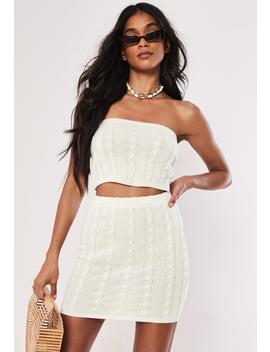 White Co Ord Cable Knit Boob Tube Top by Missguided