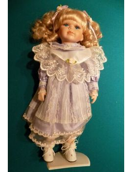 Limited Edition Porcelain Doll Blond Girl Purple Dress & Roses by Ebay Seller