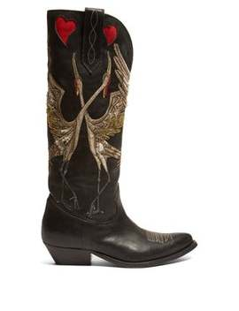 Wish Star Bird Embroidered Leather Boots by Golden Goose