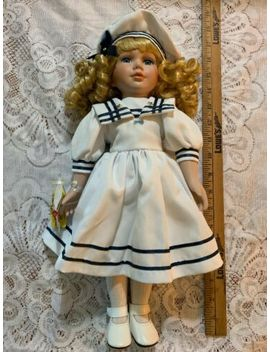 "Porcelain Doll Sailor Girl Blonde With Blue Eyes 16"" Sailboat Toy In Hand. by Ebay Seller"