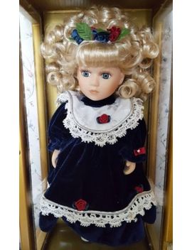 11 Inch Porcelain Doll Named Anna   In A Wooden Case Painted Gold by Ebay Seller
