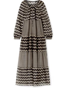 Drawstring Tunnels Printed Cotton And Silk Blend Maxi Dress by Stella Mc Cartney
