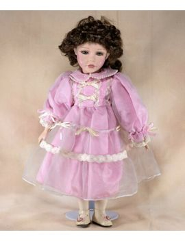 "Collector's Porcelain Girl Doll 16.5"" Brown Curly Hair Green Eyes With Eyelashes by Unbranded"