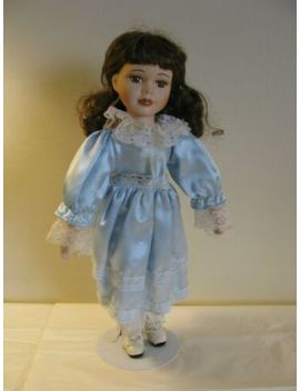 "Vintage Unique 1 5000 Porcelain Doll 15"" W/ Curly Brown Hair Blue Dress & Stand by Unique"