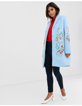 Y.A.S Floral Embroidered Tailored Coat by Y.A.S.
