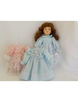 Brown Curly Hair Blue Eyes Doll Porcelain Dresses Blue Pink Ruffles by Unbranded