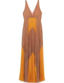 Pleated Printed Crepe Maxi Dress by Self Portrait