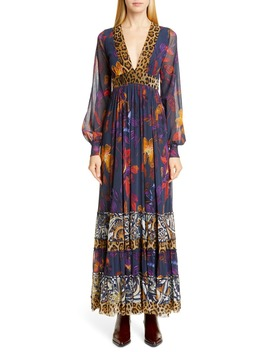 Leopard Patchwork Long Sleeve Maxi Dress by Fuzzi