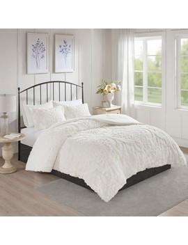 3pc Eugenia Cotton Damask Comforter Set White by Jla Home