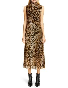 Ruched Leopard Print Midi Dress by Fuzzi