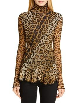Leopard Print Ruffle Turtleneck Top by Fuzzi