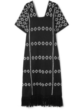 Tasseled Embroidered Cotton Kaftan by Pippa Holt