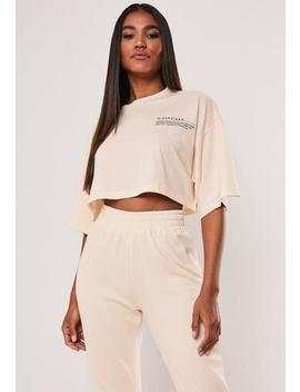 Sand Mg Slogan Drop Shoulder Oversized Cropped T Shirt by Missguided