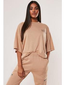 Camel Mg Slogan Drop Shoulder Oversized T Shirt by Missguided