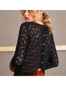 SÉzane Sezane Colette V Blouse Black Crochet  Lace Fr 34 Uk 6 8 Rrp £90 Used Vgc by Sezane