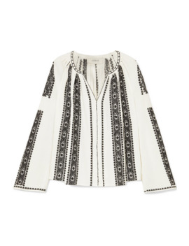 The Journey Embroidered Cotton Gauze Top by The Great