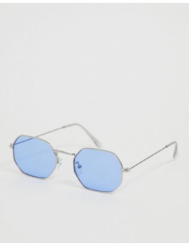 Asos Design Metal Angled Sunglasses In Silver With Blue Lenses by Asos Design