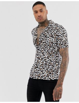 Religion Revere Collar Shirt With Leopard Print In Tan by Religion