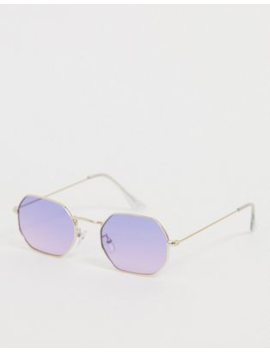 Asos Design Metal Angled Sunglasses In Pale Gold With Lilac Lenses by Asos Design