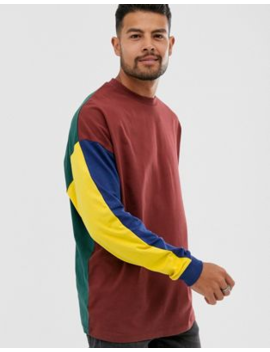 Asos Design Oversized Long Sleeve T Shirt With Contrast Colour Block In Burgundy by Asos Design