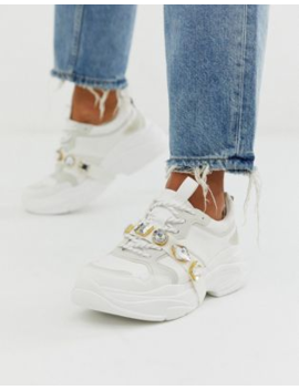 Pull&Amp;Bear Gem Detail Chunky Trainers In White by Pull&Bear