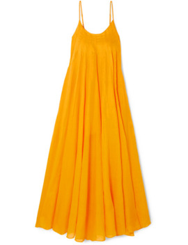 Mabelle Pleated Ramie Maxi Dress by Three Graces London