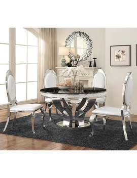 Silver Orchid Punkosdy Glam Round Black/Silver Dining Table by Silver Orchid